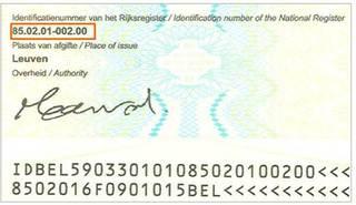 Identiteitskaart achterkant