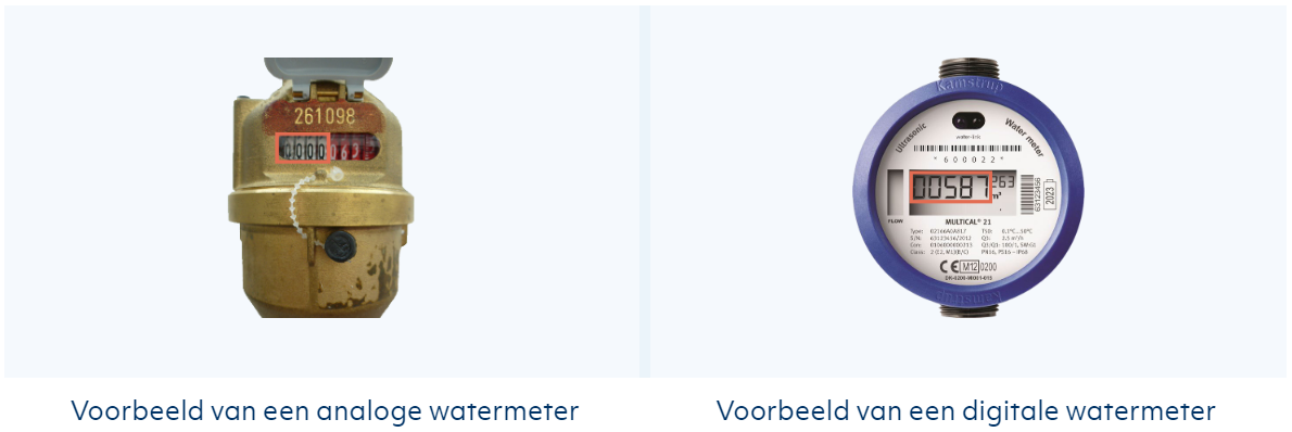 Meterstand analoge watermeter versus digitale watermeter